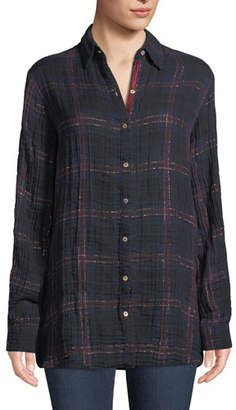 Johnny Was Jyll Embroidered Plaid Shirt