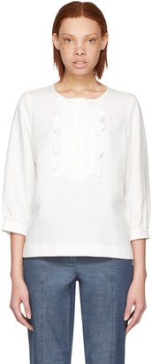 A.P.C. White Cleo Blouse $280 thestylecure.com