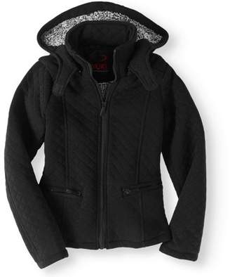 Yoki Girls' Fleece Zip Up Hooded Jacket With Quilting