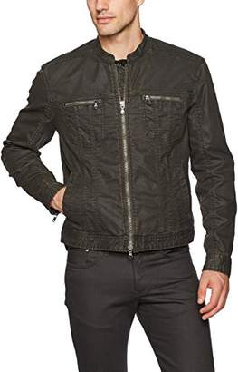 John Varvatos Men's Band Collar Denim Jacket