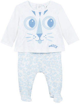 Kenzo Baby Tiger Face Embroidery Tee w/ Animal-Print Footed Leggings, Size 3-9 Months
