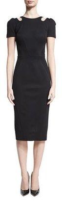 Zac Posen Cutout-Neck Short-Sleeve Dress, Black $1,490 thestylecure.com