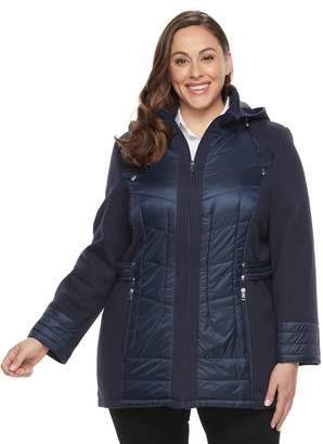 Details Plus Size Hooded Mixed-Media Puffer Jacket