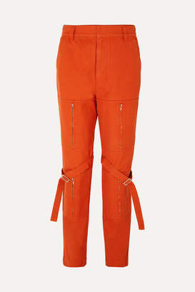 Ambush Zip-detailed Cotton-canvas Pants - Orange