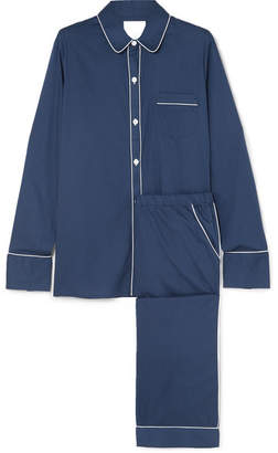 Three J NYC Halle Cotton-poplin Pajama Set - Navy