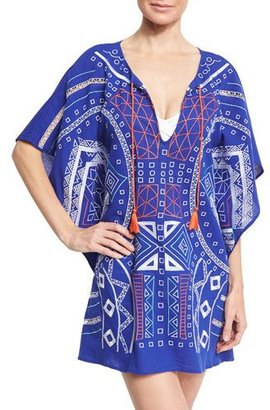 Trina Turk Jakarta Embroidered Caftan Coverup, Blue $180 thestylecure.com