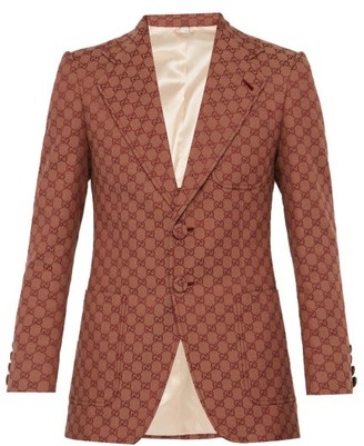 Gucci Gg Single Breasted Cotton Blend Blazer - Mens - Multi