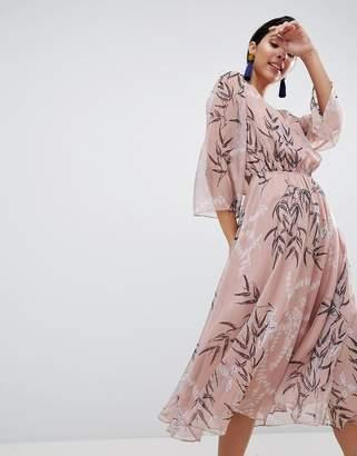 Liquorish Leaf Printed Midi Dress
