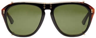 Gucci Tortoiseshell and Black Opulent Luxury Flip-Up Sunglasses