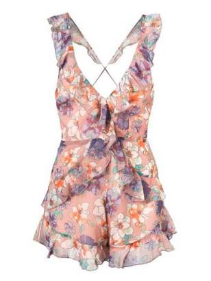 Goodnight Macaroon 'Nakia' Floral Cross Back Frilled Plunge Neck Romper