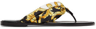 Versace Printed Silk-twill And Leather Sandals - Gold