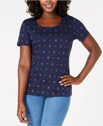 Karen Scott Anchor-Print Top, Created for Macy's