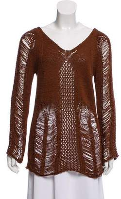 Torn By Ronny Kobo Distressed Knit Sweater
