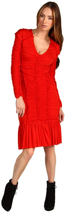 McQ Gathered Short Dress (Blood Red) - Apparel