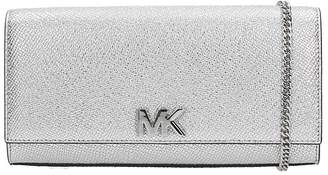 Michael Kors Clutch Bag In Silver Leather