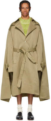 Chin Mens Khaki Double Cloak Trench Coat
