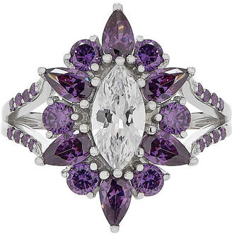 FINE JEWELRY Diamonart Womens Color Enhanced Purple Cubic Zirconia Sterling Silver Cocktail Ring