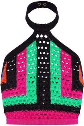Balmain Cropped Color-Block Crochet-Knit Halterneck Top