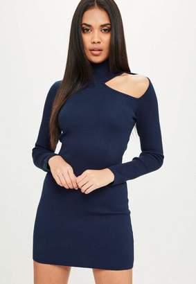 Missguided Navy High Neck Cut Out Sweater Dress