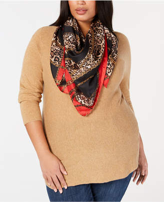 INC International Concepts I.N.C. Chain & Animal-Print Square Scarf, Created for Macy's