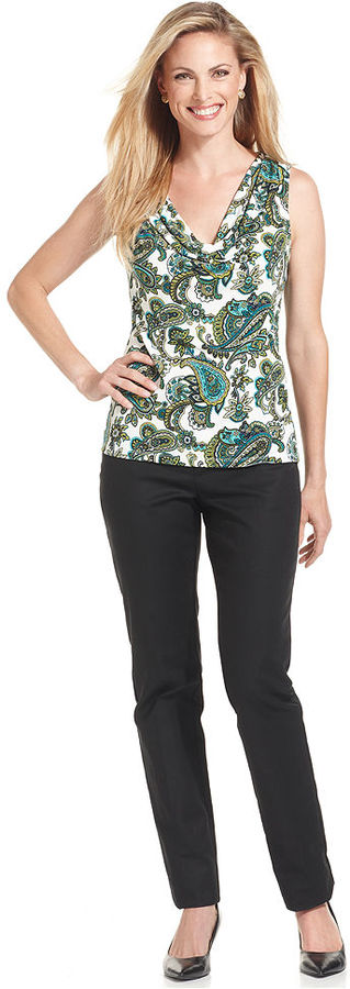 Charter Club Petite Top, Sleeveless Paisley-Print Draped