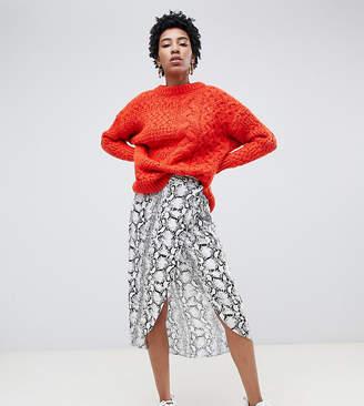 Asos Tall DESIGN Tall snake print wrap midi skirt