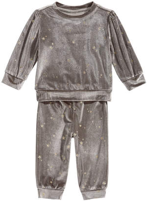 First Impressions Baby Girls 2 Pc. Glitter Velour Sweatshirt & Pants Set
