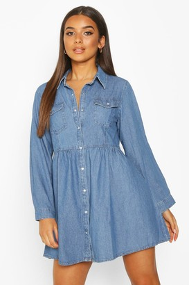 boohoo Long Sleeve Denim Shirt Dress