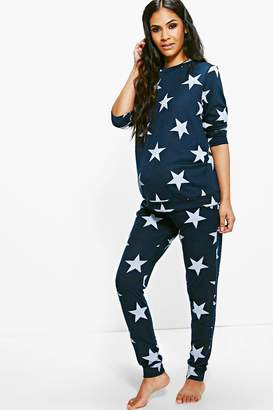 boohoo Maternity Star Printed Knitted Lounge Set