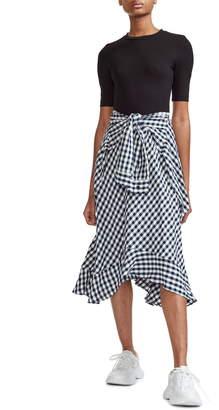 f84d93666161 Maje Rapri Jersey Bodice & Gingham Skirt Midi Dress