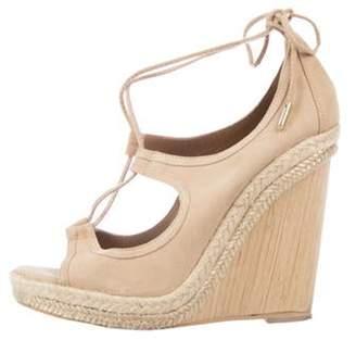 Aquazzura Suede Wrap-Tie Wedge Sandals Tan Suede Wrap-Tie Wedge Sandals