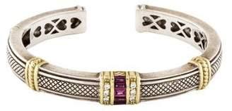 Judith Ripka Garnet & Diamond Cuff