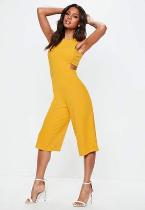 Missguided Yellow Tab Side Culotte Romper