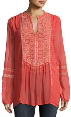 Tolani Plus Size Lauren Embroidered Boho Blouse