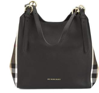 Burberry Black Leather and House Check Small Canter Tote Bag (New with Tags)