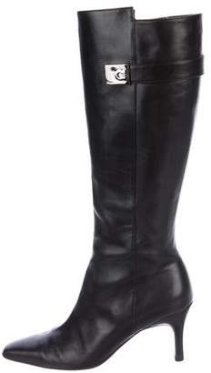 Salvatore Ferragamo Logo Leather Knee Boots