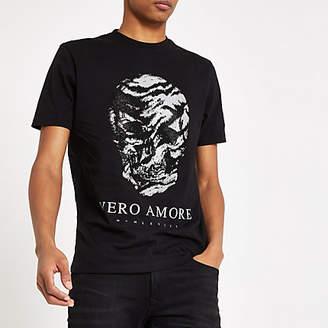 Mens Black 'Vero amore' skull slim fit T-shirt
