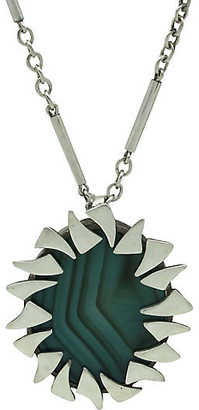 One Kings Lane Vintage Sterling & Malachite Pendant Necklace - Thanks for the Memories