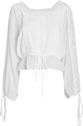 LoveShackFancy Pippa Tie Sleeve Cotton Blouse