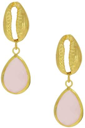 Ottoman Hands - Cypraea Rose Quartz and Shell Earrings