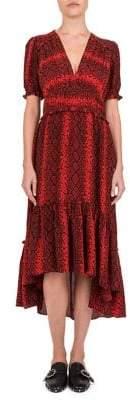 The Kooples Red Hot Snakeskin Print Midi Dress