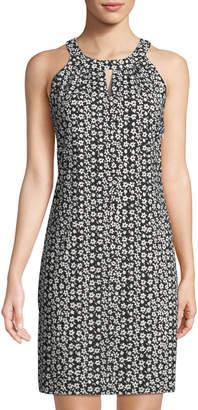 Karl Lagerfeld Paris Floral Halter-Neck A-Line Dress