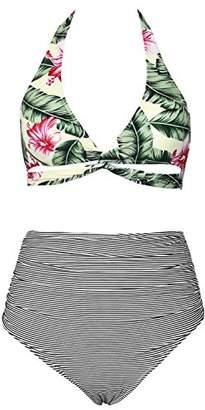 Cupshe Fashion Women'sHalter Design High Waisted Shirring bottom Bikini SetBeach SwimwearBathing Suit