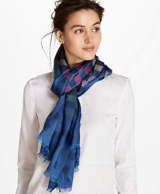 Brooks Brothers Ombre Buffalo Check Silk-Blend Oblong Scarf