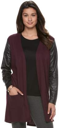 Laundry by Shelli Segal Women's French Faux-Leather Mixed-Media Cardigan