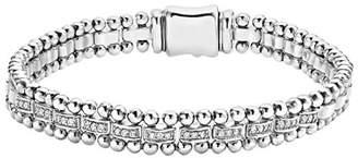 Lagos Sterling Silver Caviar Spark Diamond Link Bracelet