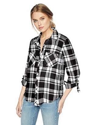 William Rast Women's Carina Button Down Roll Sleeve Shirt