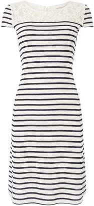 Oui T shirt stripe and lace detail dress