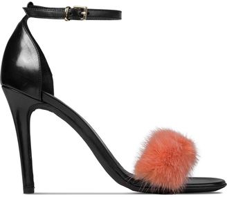 MSGM Orange Fur Strap Sandals $607 thestylecure.com