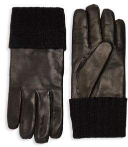Saks Fifth Avenue Ribbed Cuff Leather Gloves